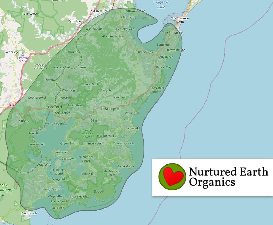Nurtured Earth Organics delivery map Central Coast